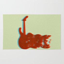 Silkscreen guitar print Rug