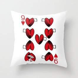 Delicious Deck: The Nine of Hearts Throw Pillow