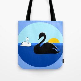 Black and White Swans on Blue Lake Tote Bag