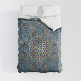Flower of Life in Lotus Mandala - Blue Marble and Gold Comforters