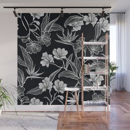 Black and White Flower Pattern Wall Mural