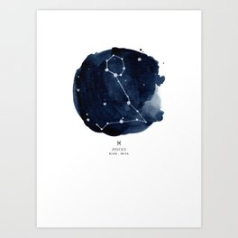 Zodiac Star Constellation - Pisces Art Print