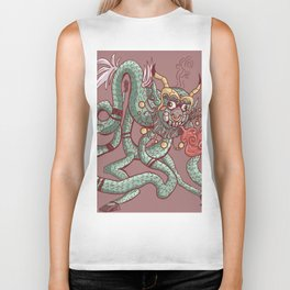Angry Chinese dragon cartoon chained Biker Tank