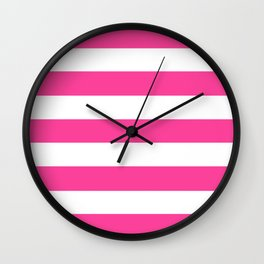 Barbie Pink (2005-2009) - solid color - white stripes pattern Wall Clock