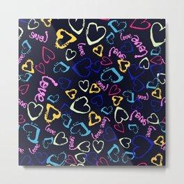 Brush hearts on dark Metal Print