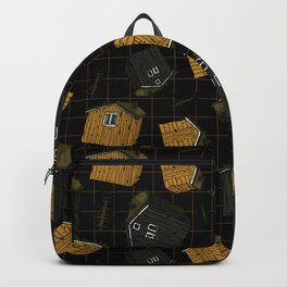 Canadian or scandinavian yellow and black wooden houses Backpack