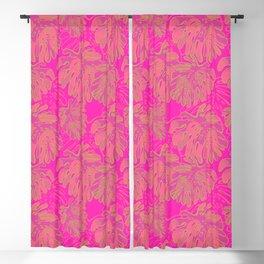 Tropical Monstera Jungle - Fluorescent Pink Blackout Curtain