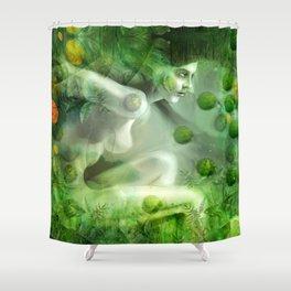 """Aquatic Spring Girl"" (2018 Version) Shower Curtain"