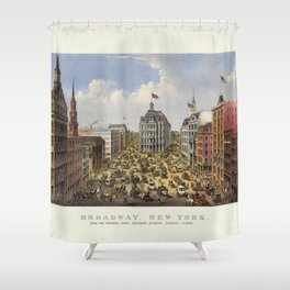 Broadway, New York by Currier & Ives (1875) Shower Curtain