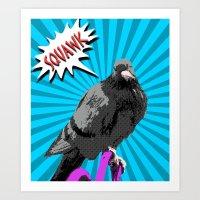 Pop Art pigeon roy lichtenstein style Art Print