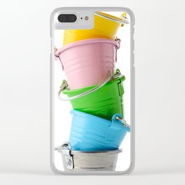 Colorful buckets, stacked vertically Clear iPhone Case