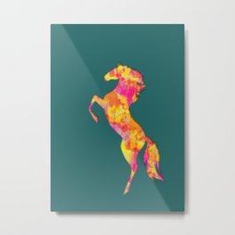 Fire Horse Silhouette Metal Print