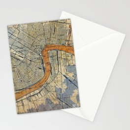 New Orleans Louisiana 1932 vintage map, NO old colorful artwork Stationery Cards