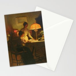 Marcel Rieder - Study of Piano Score between Two Young Woman in the Glow of an Oil Lamp Stationery Cards