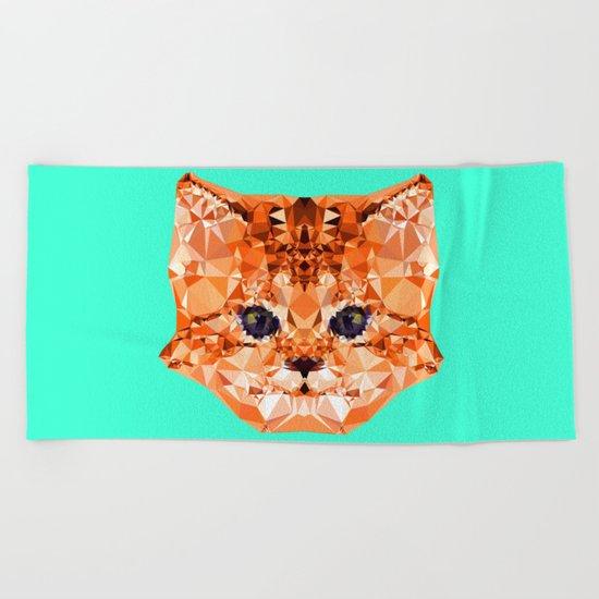 Geometric Kitten Beach Towel