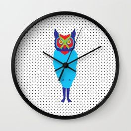 Animal Mardi Gras: Owl Wall Clock