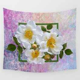 White Flowers with Inset Wall Tapestry