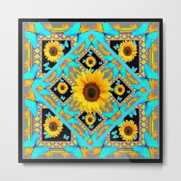 Western Art Sunflowers & Turquoise Butterflies With Black Metal Print