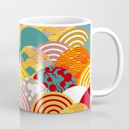 Nature background with japanese sakura flower, orange red pink Cherry, wave circle pattern Coffee Mug