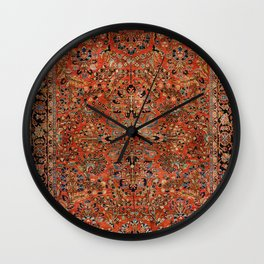 Persia Sarouk 19th Century Authentic Colorful Red Yellow Leaf Vintage Patterns Wall Clock