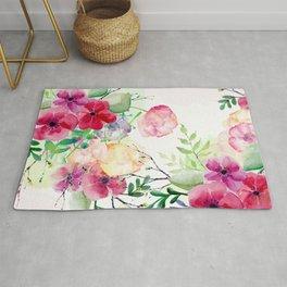 Vintage Flowers - Watercolor Floral Painting Rug