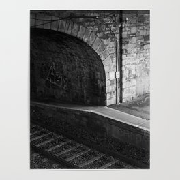 Train Station at Night time Poster