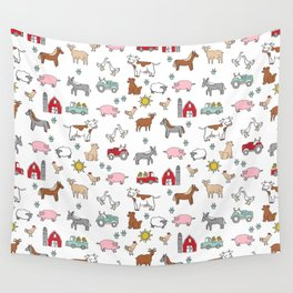 Farm animals nature sanctuary cow pig goats chickens kids gender neutral Wall Tapestry