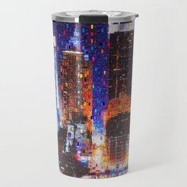 New York City in blue; Manhattan night time city lights, neon midtown landscape painting by Iliya Dakov Travel Mug