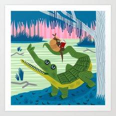 The Alligator and The Armadillo Art Print