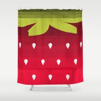 strawberry Shower Curtains featuring Strawberry by Kakel
