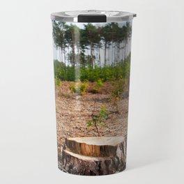 Woods logging one stump after deforestation Travel Mug