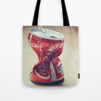 coke Tote Bags featuring Coke by Ntaly