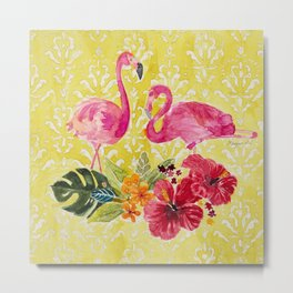 Flamingos On Damask Pattern Metal Print