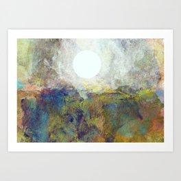 Colorful Sea and Bright Moon Art Print