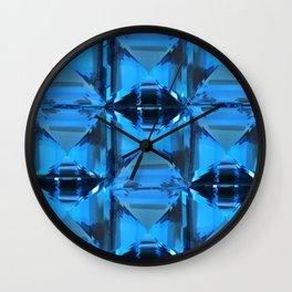 BLUE CRYSTAL GEMS PATTERN Wall Clock