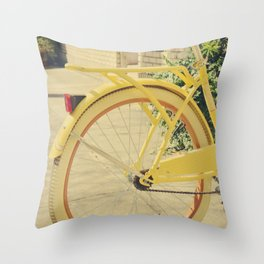 Home is where my yellow bike is Throw Pillow