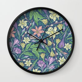 Yellow jonquil with purple crocuses and willow branches on dark background Wall Clock