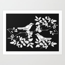 Birds on Branches, Drawing (White on Black) Art Print