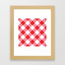 Gingham - Red Framed Art Print