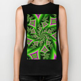 Green And Pink Shapes Fractal Biker Tank