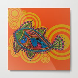 Madhubani - Orange Fish 2 Metal Print
