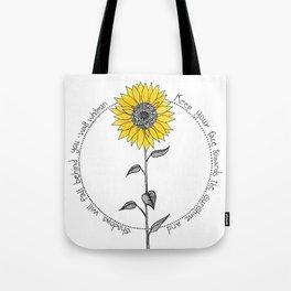 Walt Whitman Sunflower Illustration Tote Bag
