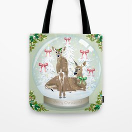 Snow globe deer Tote Bag