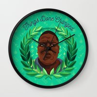 notorious big Wall Clocks featuring NOTORIOUS by badOdds