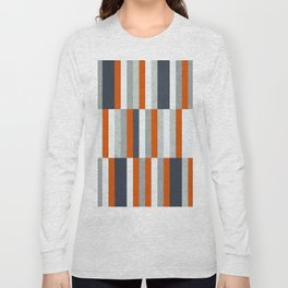 Orange, Navy Blue, Gray / Grey Stripes, Abstract Nautical Maritime Design by Long Sleeve T-shirt