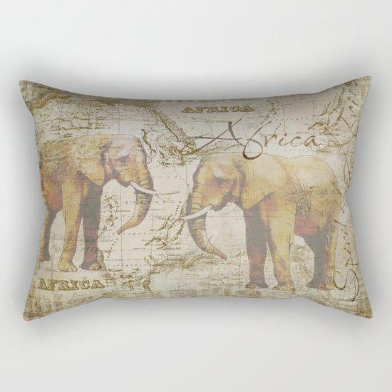 Spirit of Africa Elephant mixed media art Rectangular Pillow
