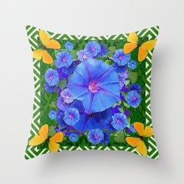 Forest Green Pattern Blue Morning Glory  Butterfly Art Throw Pillow