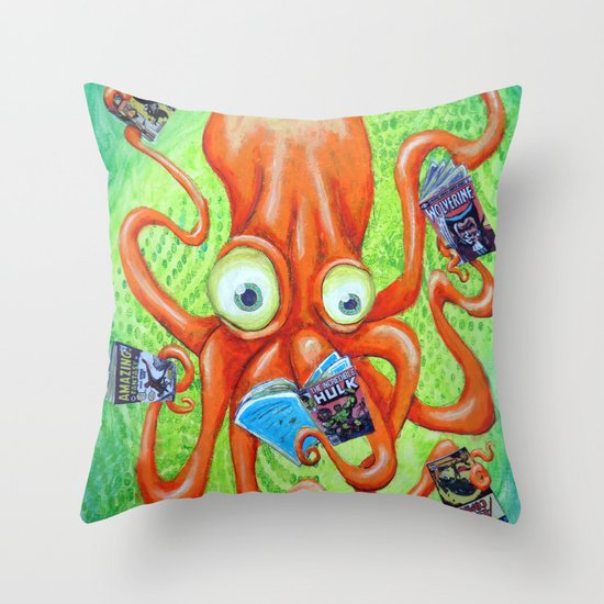 Comic Book Octopus Throw Pillow