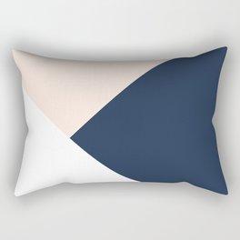 Blush meets Navy Blue & White Geometric #1 #minimal #decor #art #society6 Rectangular Pillow