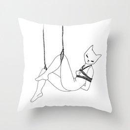 shibari kitty Throw Pillow